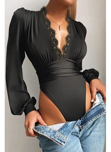 BLACK&GRACE Siyah Dantel Detaylı Sndy Krep Kumaş Bluz Siyah